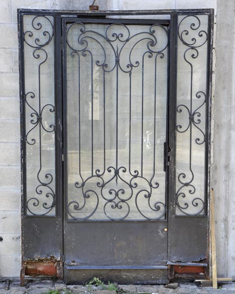 Exterior door with its frame in iron, 20th century - Reference 10831