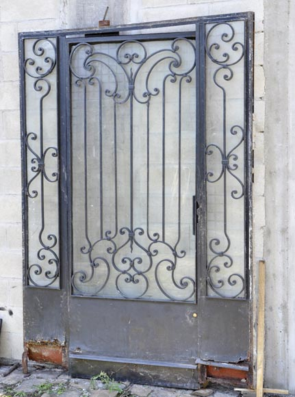 Exterior door with its frame in iron, 20th century-1