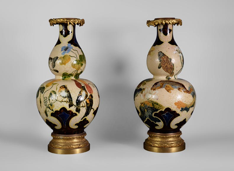G. GREAU - Rare pair of Japanese style earthenware vases decorated with birds and carp, mounted with gilt bronze - Reference 10832