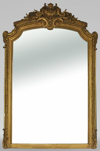 Antique Louis XV style overmantel mirror, slip-painting - Reference 10833