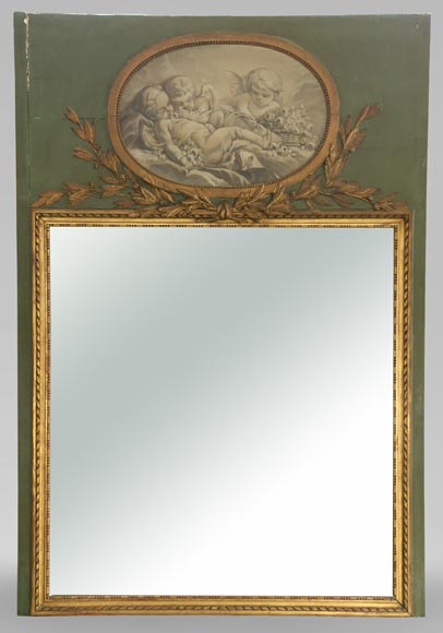Antique Louis XVI style overmantel pierglass with putti painted in grisaille - Reference 10834