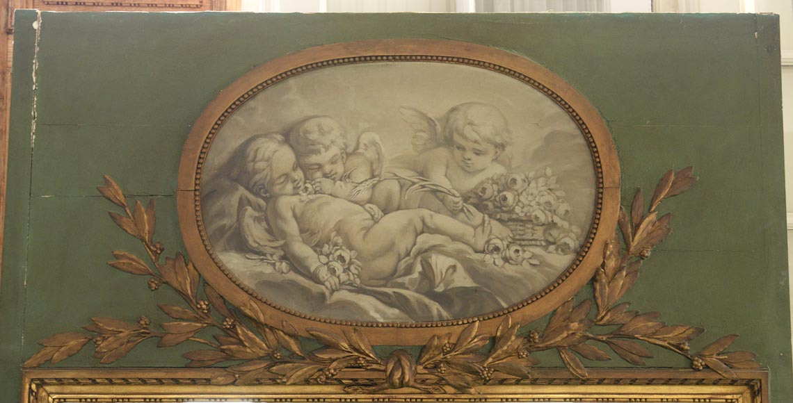 Antique Louis XVI style overmantel pierglass with putti painted in grisaille-1