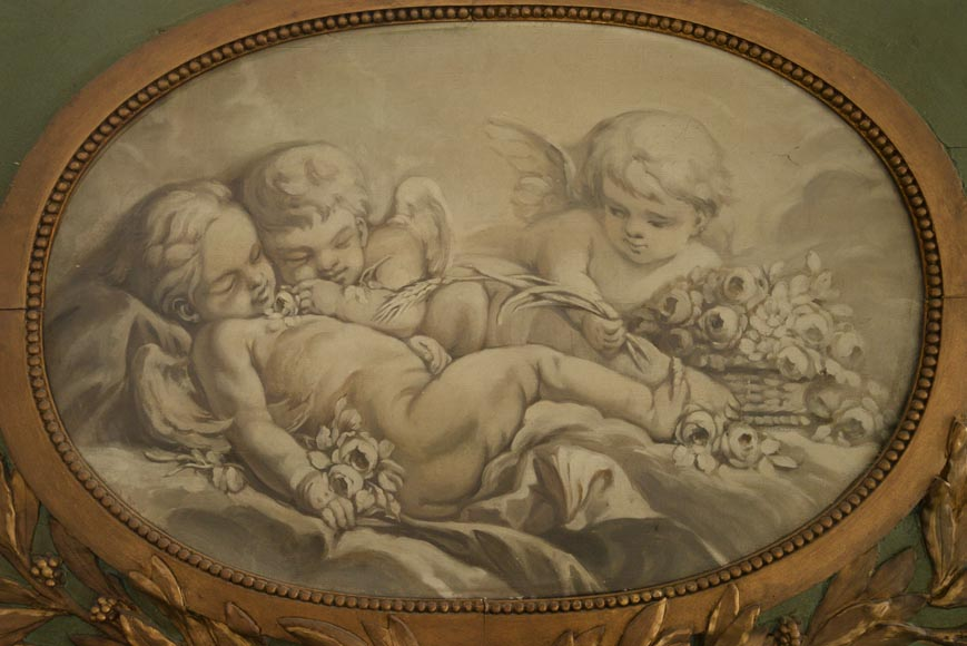 Antique Louis XVI style overmantel pierglass with putti painted in grisaille-2