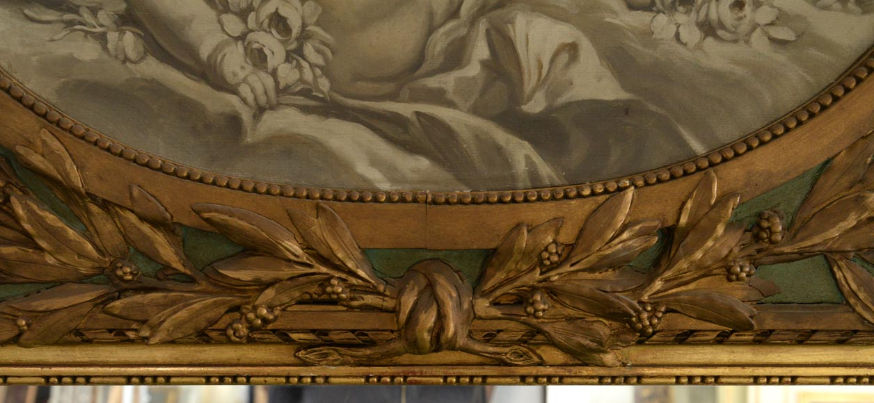 Antique Louis XVI style overmantel pierglass with putti painted in grisaille-3