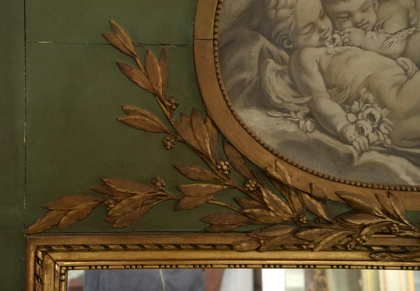 Antique Louis XVI style overmantel pierglass with putti painted in grisaille-4