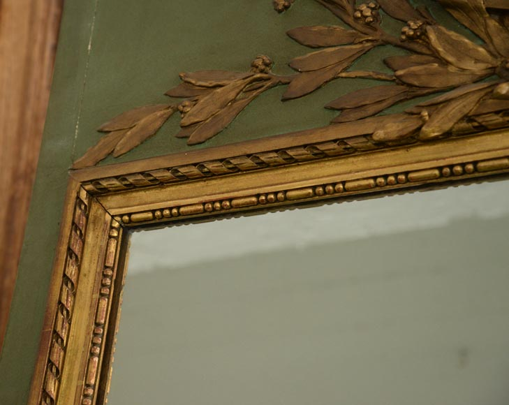 Antique Louis XVI style overmantel pierglass with putti painted in grisaille-6