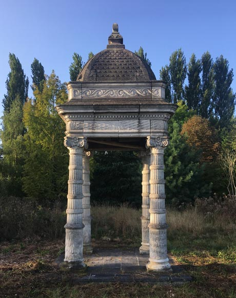 Monumental carved stone fountain canopy after the fountain of the Chateau of the Black Prince near Bordeaux-1