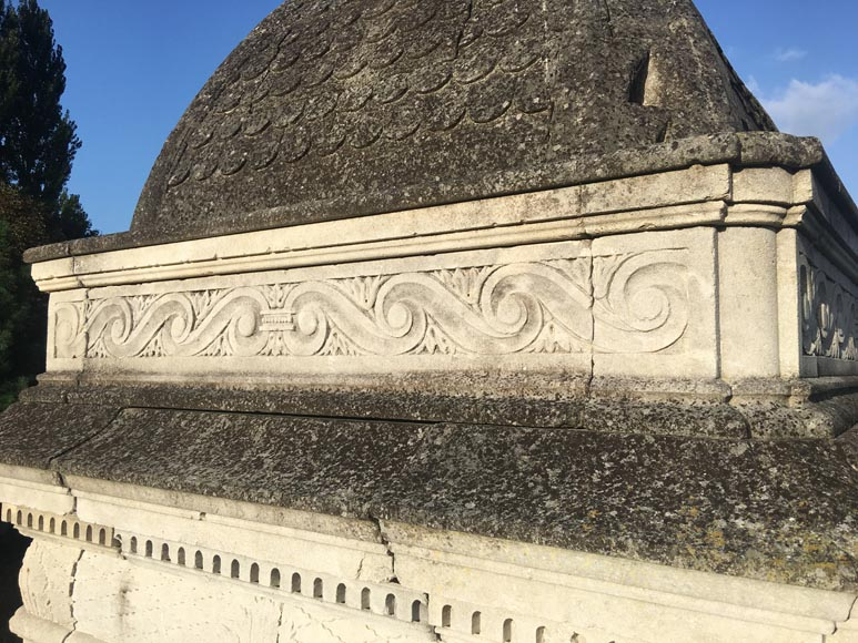 Monumental carved stone fountain canopy after the fountain of the Chateau of the Black Prince near Bordeaux-3