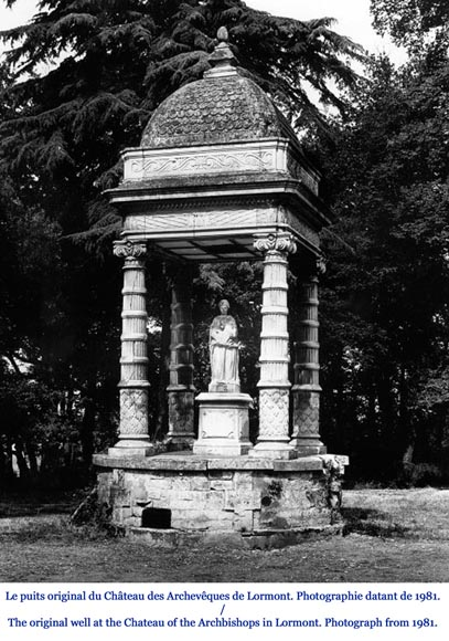 Monumental carved stone fountain canopy after the fountain of the Chateau of the Black Prince near Bordeaux-7