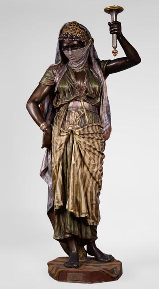 Anatole J. GUILLOT (1865-1911) (after) - « Young oriental woman», Important figural torchère in polychrome spelter-0