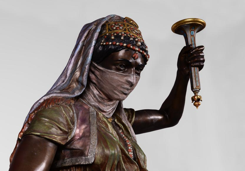 Anatole J. GUILLOT (1865-1911) (after) - « Young oriental woman», Important figural torchère in polychrome spelter-1