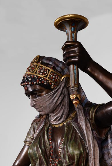 Anatole J. GUILLOT (1865-1911) (after) - « Young oriental woman», Important figural torchère in polychrome spelter-2