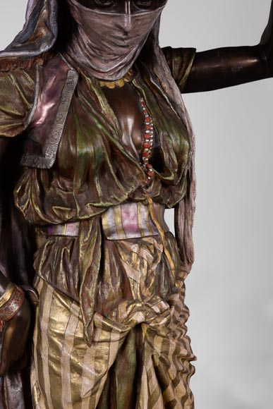 Anatole J. GUILLOT (1865-1911) (after) - « Young oriental woman», Important figural torchère in polychrome spelter-3