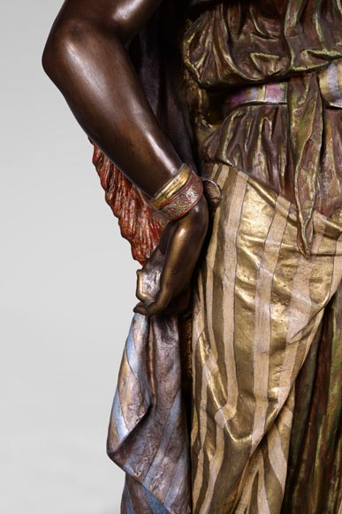Anatole J. GUILLOT (1865-1911) (after) - « Young oriental woman», Important figural torchère in polychrome spelter-4