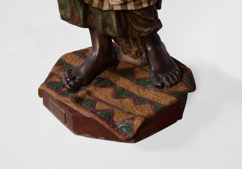 Anatole J. GUILLOT (1865-1911) (after) - « Young oriental woman», Important figural torchère in polychrome spelter-5