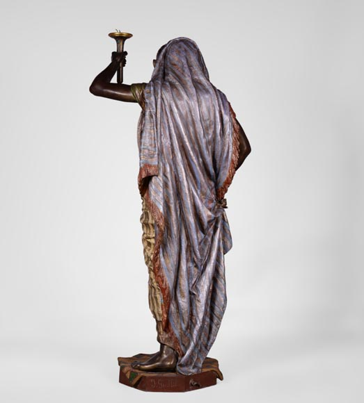 Anatole J. GUILLOT (1865-1911) (after) - « Young oriental woman», Important figural torchère in polychrome spelter-8