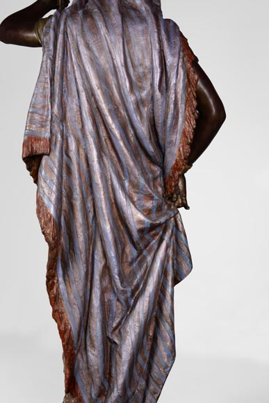 Anatole J. GUILLOT (1865-1911) (after) - « Young oriental woman», Important figural torchère in polychrome spelter-9