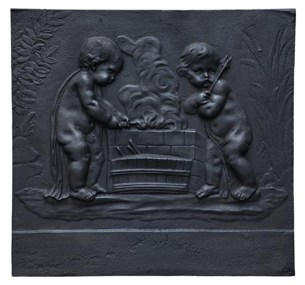 Putti Forging Cupid's Arrows, antique cast iron fireback - Reference 10839