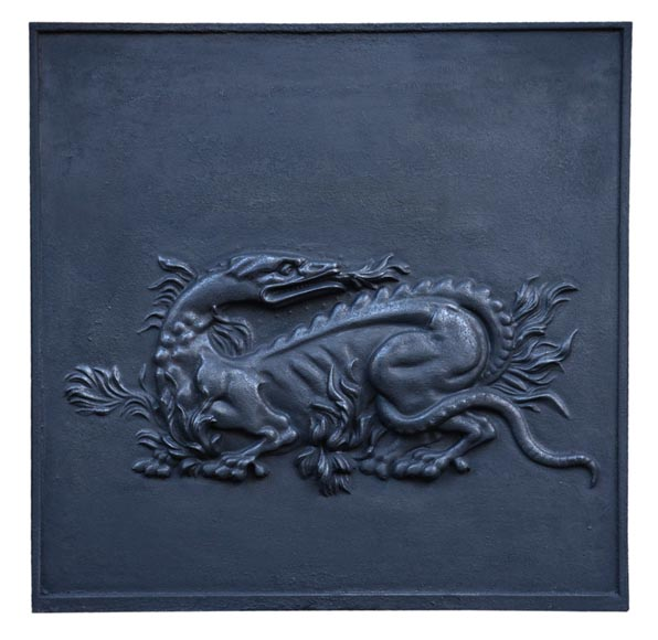 Cast iron fireback with the Salamander of King Francis Ist, 20th century-0