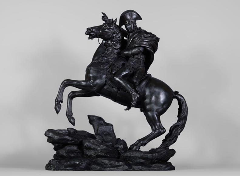 "Jean-François GECHTER (Att. to) - ""Bonaparte crossing the Great Saint Bernard"", important patinated bronze sculpture - Reference 10841"