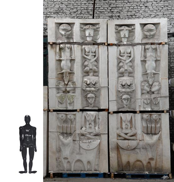 Set of ethnic style monumental decorative elements in plaster, 20th century-0