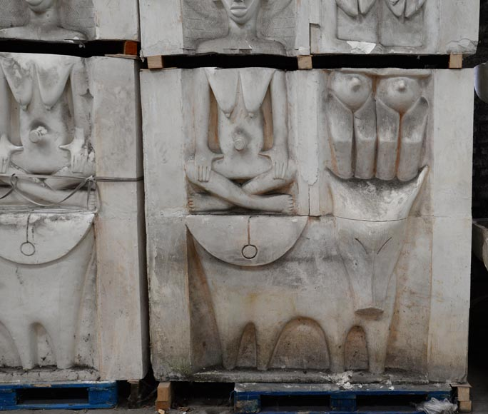 Set of ethnic style monumental decorative elements in plaster, 20th century-4