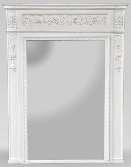 Antique Louis XVI style overmantel mirror with flowers frieze, wood and painted stucco - Reference 10852