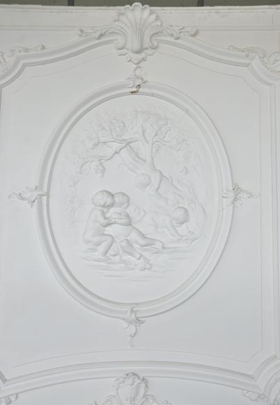Large antique Regence style overmantel pierglass with putti playing in the vineyards-1