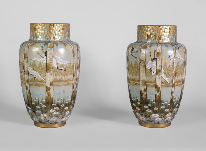 Manufacture of Luneville, pair of stork vases-0