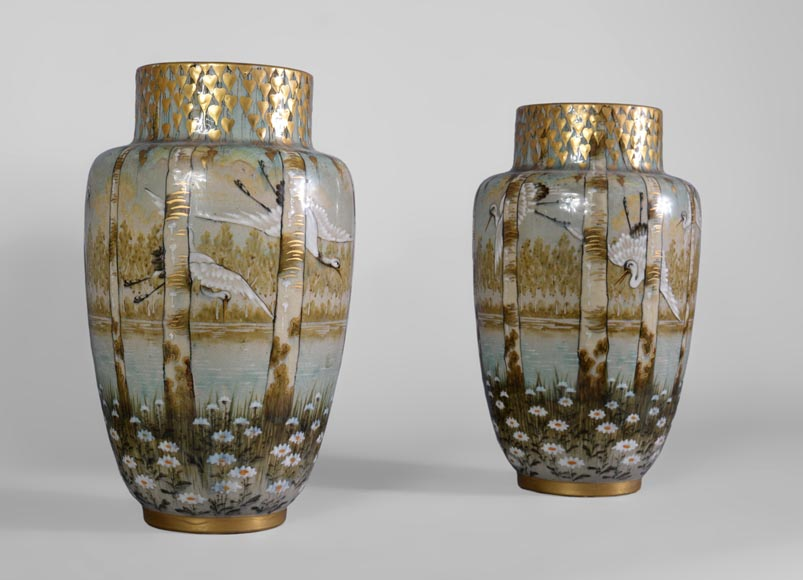 Manufacture of Luneville, pair of stork vases-1