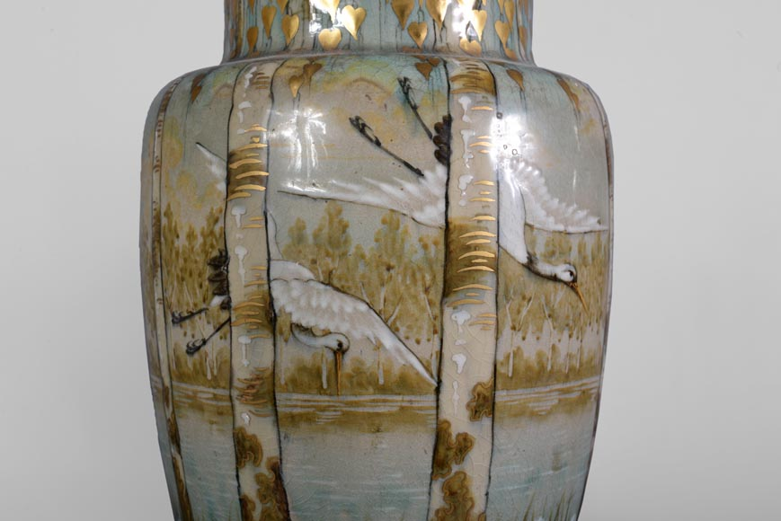 Manufacture of Luneville, pair of stork vases-2