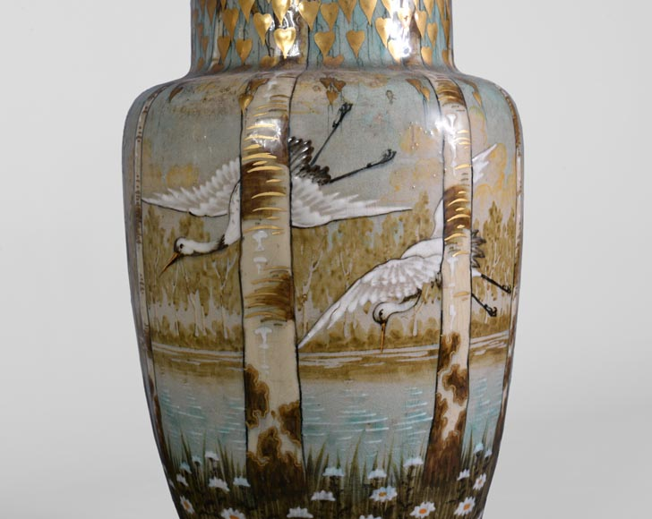 Manufacture of Luneville, pair of stork vases-5
