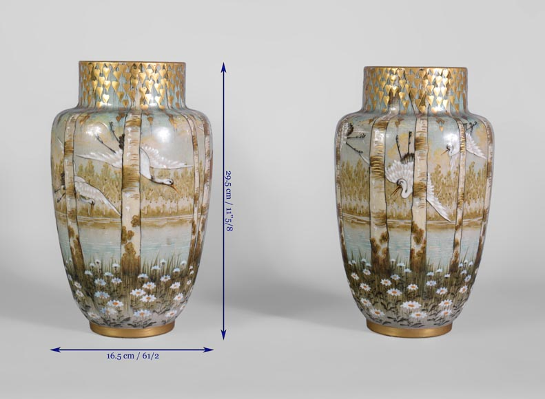 Manufacture of Luneville, pair of stork vases-7