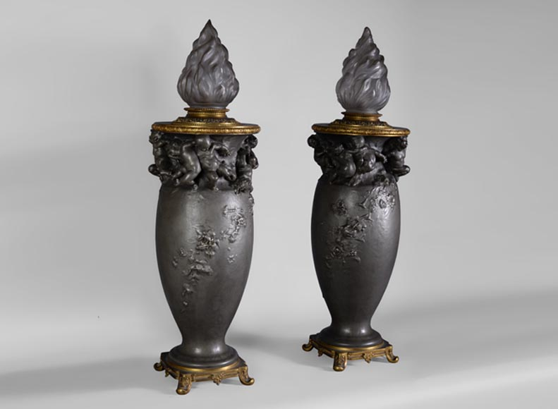 Paul ROUSSEL (1867-1928) Napoleon III style pair of pewter lamps, E. Soleau cast iron Edition and globe signed Sèvres-0