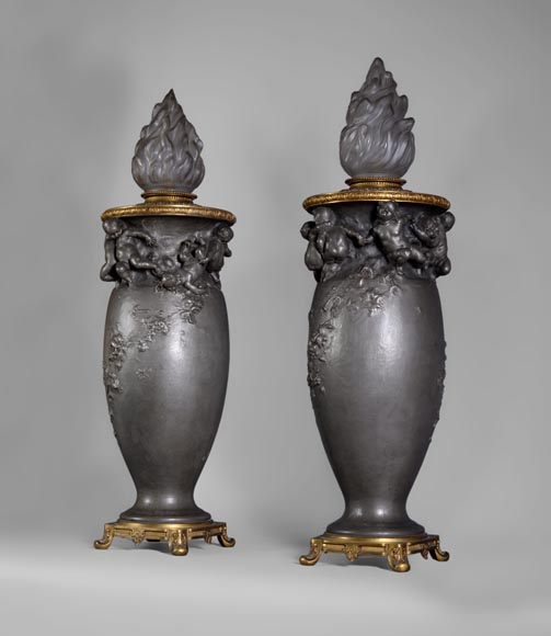 Paul ROUSSEL (1867-1928) Napoleon III style pair of pewter lamps, E. Soleau cast iron Edition and globe signed Sèvres-6