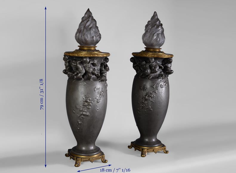 Paul ROUSSEL (1867-1928) Napoleon III style pair of pewter lamps, E. Soleau cast iron Edition and globe signed Sèvres-9