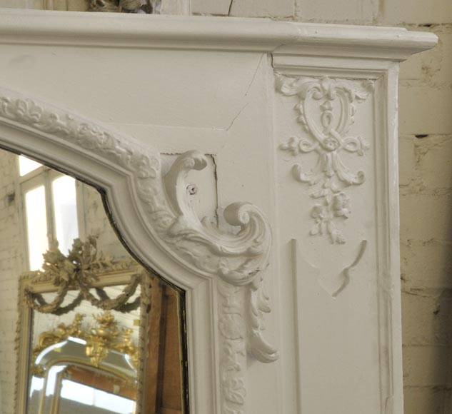 Antique Louis XV style overmantel pierglass with shell-3