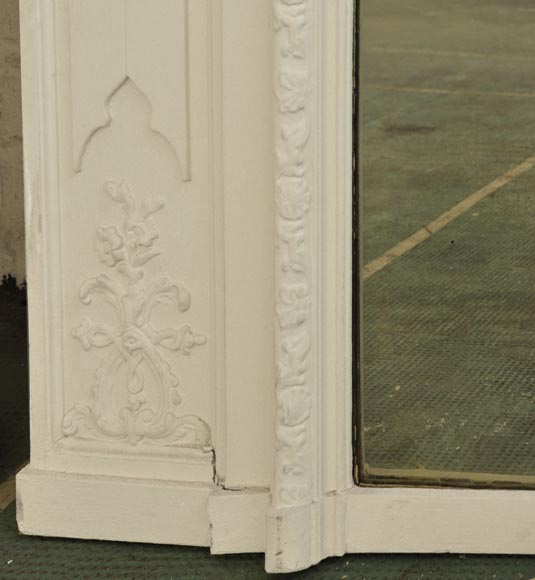 Antique Louis XV style overmantel pierglass with shell-5