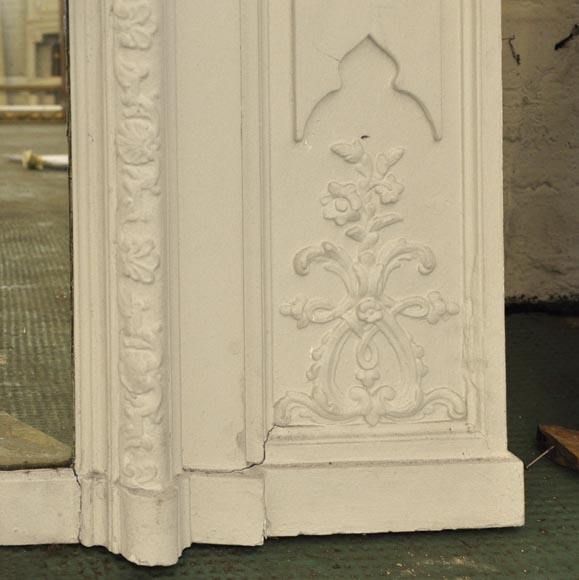 Antique Louis XV style overmantel pierglass with shell-6