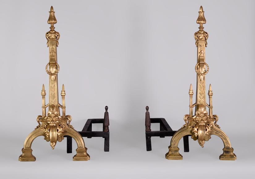 Pair of antique Napoleon III style andirons in gilt bronze with lion heads - Reference 10865