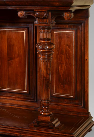 Richard COURMONT & Cie, Neo-Renaissance style credenza with secret drawers