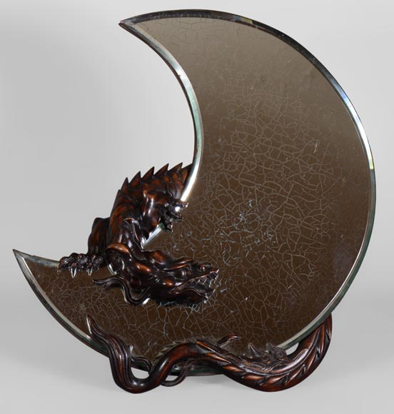 Gabriel VIARDOT (1830-1906) - Easel mirror in the shape of a crescent moon with a dragon carved decoration-0
