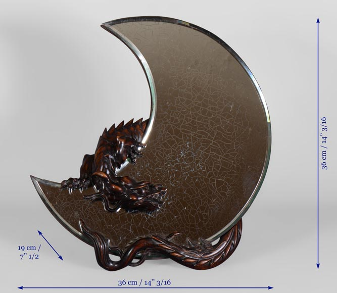 Gabriel VIARDOT (1830-1906) - Easel mirror in the shape of a crescent moon with a dragon carved decoration-5