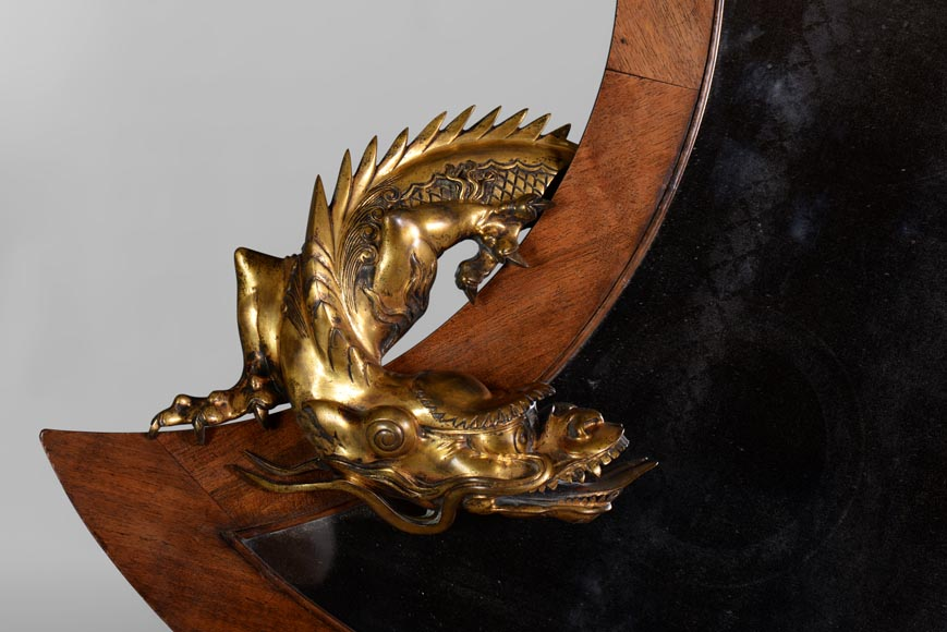 Gabriel VIARDOT (Att. to) - Rare japanese style crescent moon-shaped mirror with bronze dragon-1