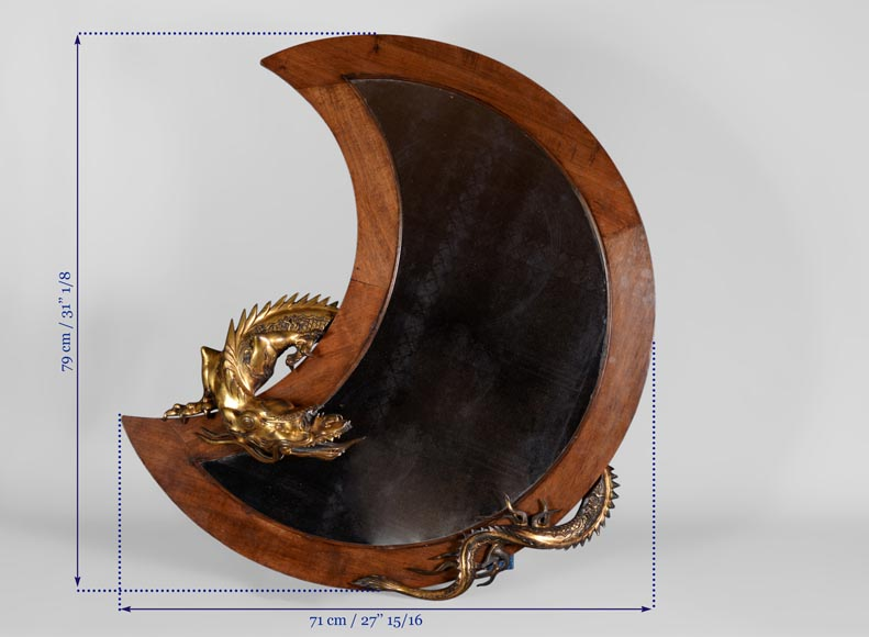 Gabriel VIARDOT (Att. to) - Rare japanese style crescent moon-shaped mirror with bronze dragon-6