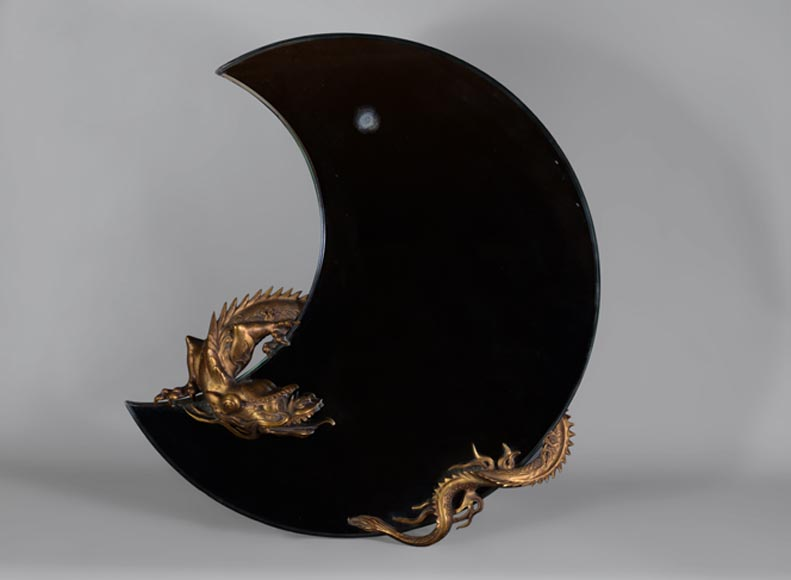 Gabriel VIARDOT (Att. to) - Beautiful japanese style crescent moon-shaped mirror with a dragon in patinated bronze -0