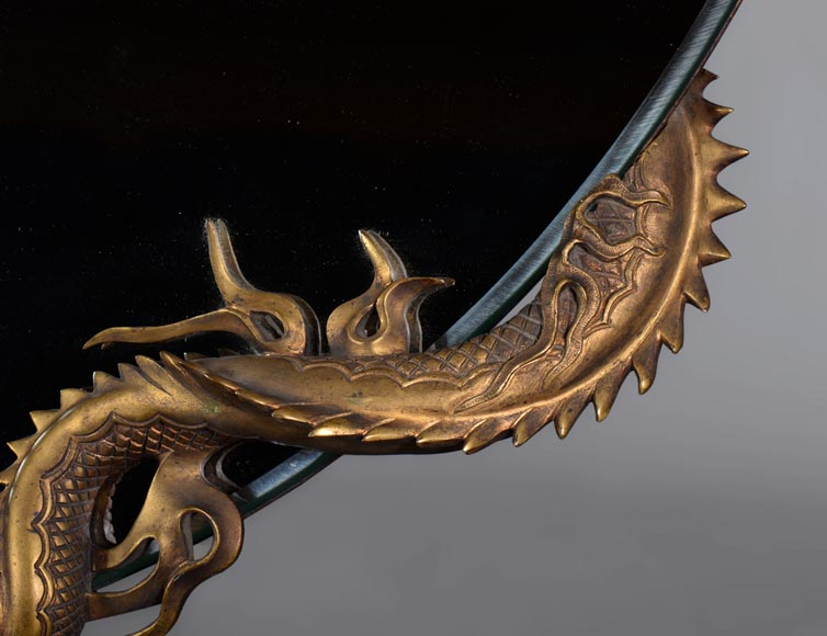 Gabriel VIARDOT (Att. to) - Beautiful japanese style crescent moon-shaped mirror with a dragon in patinated bronze -4