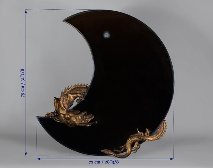 Gabriel VIARDOT (Att. to) - Beautiful japanese style crescent moon-shaped mirror with a dragon in patinated bronze -6