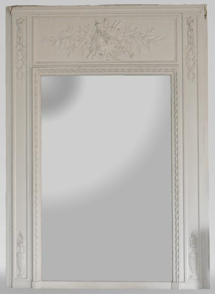 Antique Louis XVI style overmantel mirror with bagpipes - Reference 10872