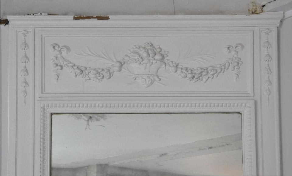 Antique Louis XVI style overmantel pierglass with basket and garlands of flowers-1